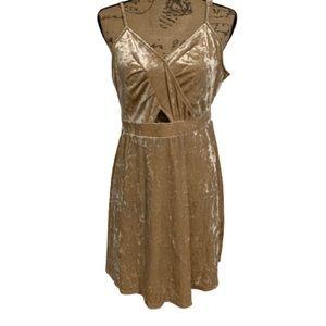 NWT love Fire tan cream suede vneck strappy dress